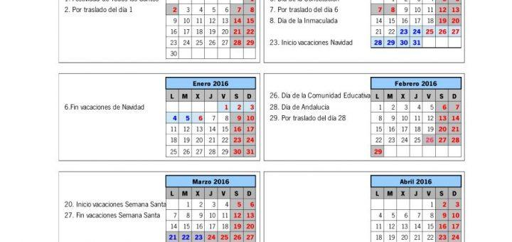 Calendario escolar Andalucía Sevilla 2015/2016
