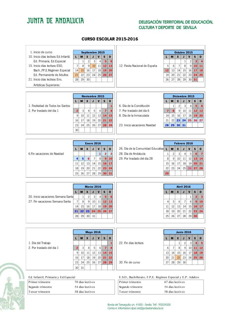 Calendario Escolar 2020 Andalucia.Calendario Escolar Andalucia Y Sevilla 2015 2016 Papanoara