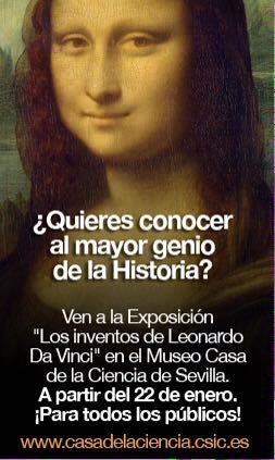 Cartel exposición Los inventos de Leonardo Da Vinci en Sevilla