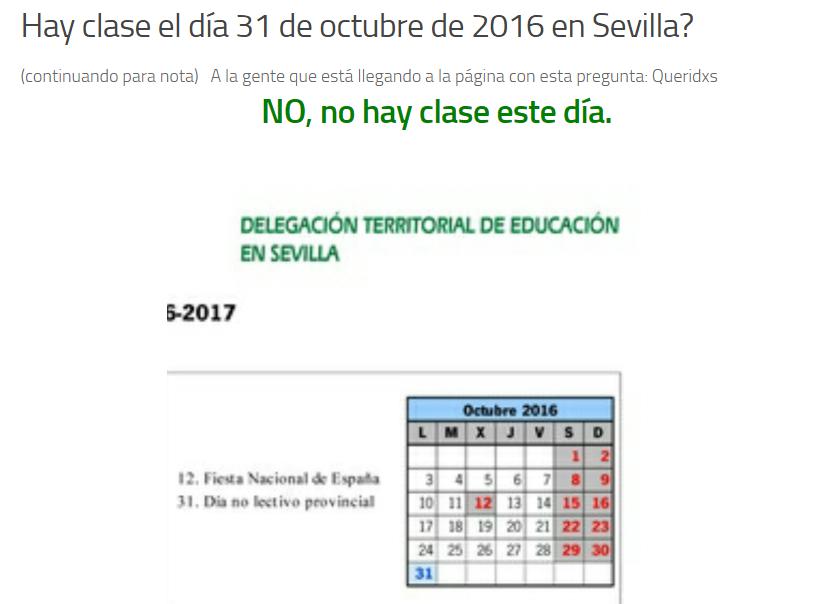 el 31 de octubre de 2016 NO hay clase en sevilla - Día NO lectivo provincial